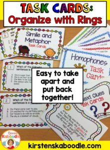 These top ten uses for task cards in the classroom are easy, fun, and engaging for students! Use loose leaf rings for easy storage, clean-up, and organization of your task cards!