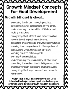 Growth mindset goals for student: This free growth mindset printable is perfect for teachers who want students to reflect on their development towards a growth mindset. It requires no preparation and is easy to use!
