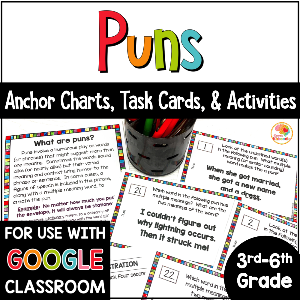 Puns Task Cards and Activities COVER