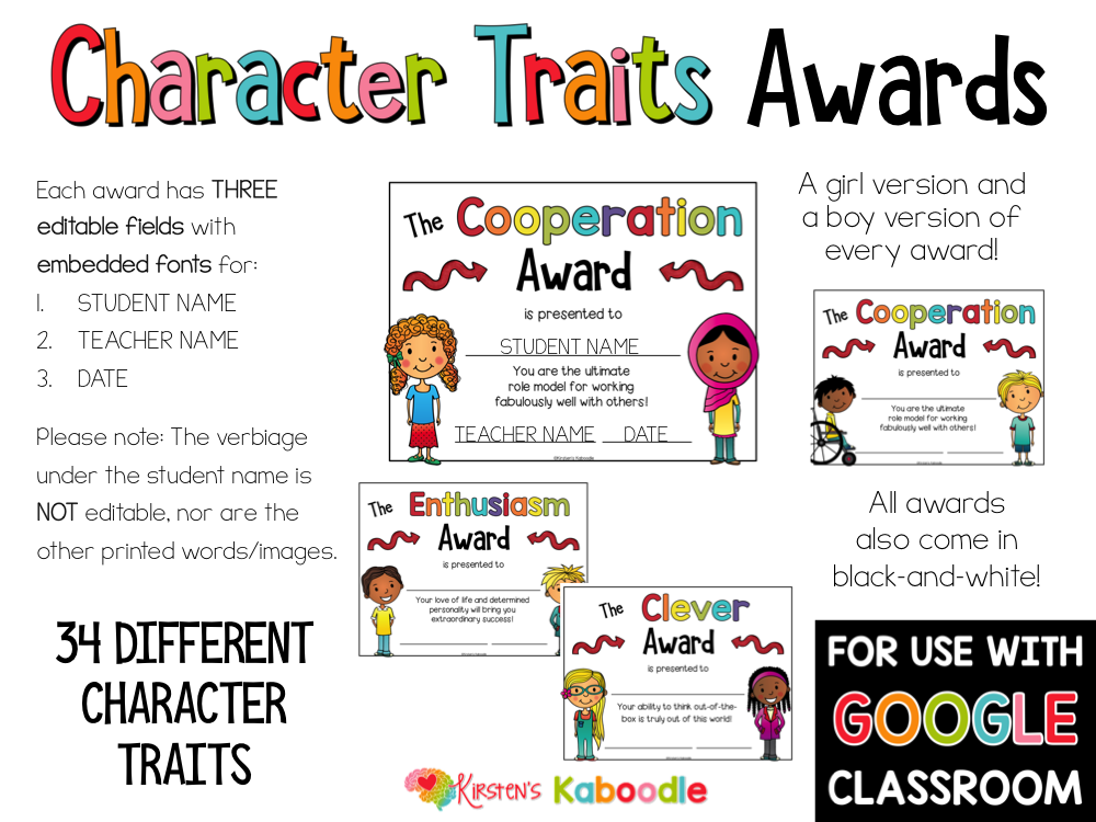 Character Traits Awards for Primary PREVIEW