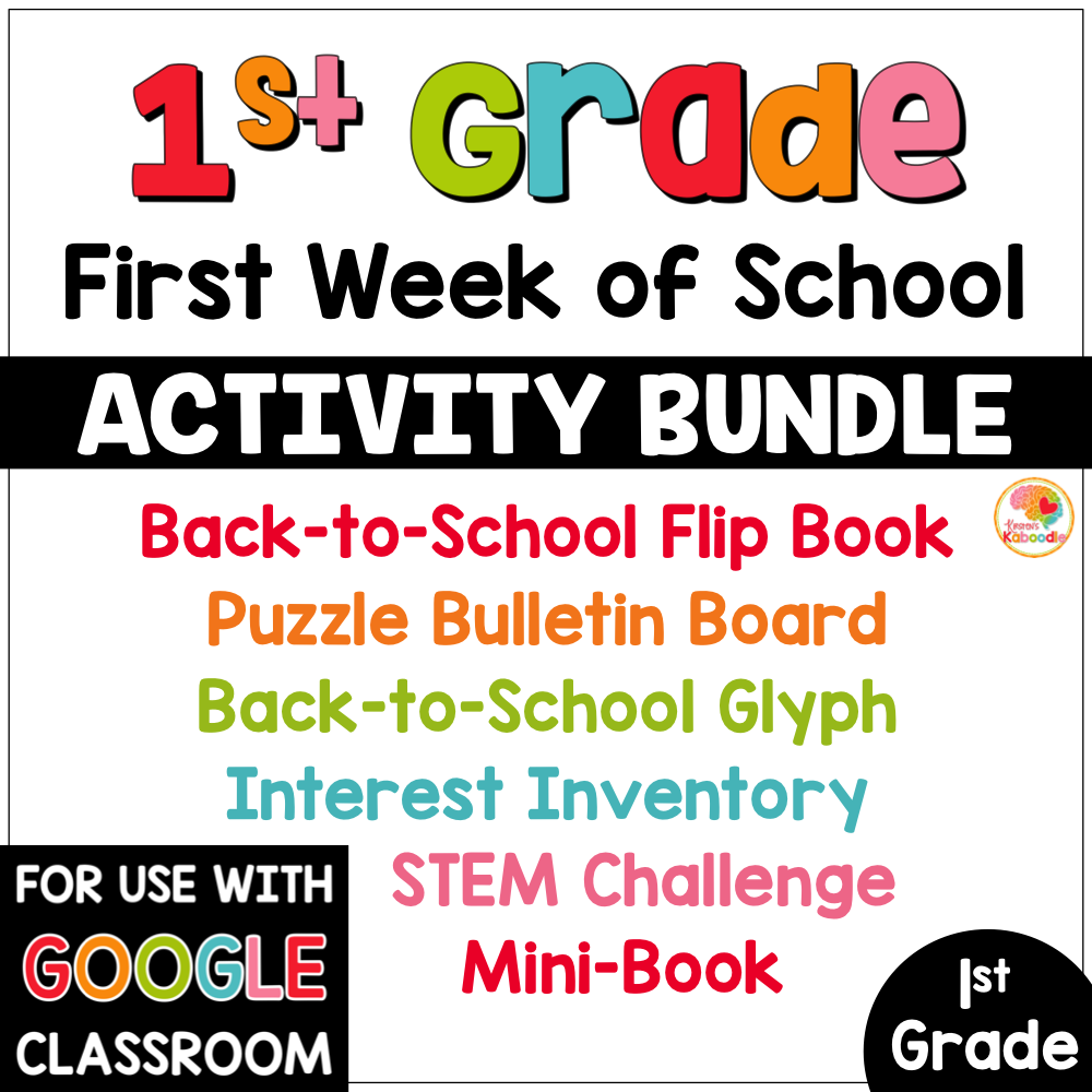 First Week of School Activities for 1st Grade Back to School PREVIEW