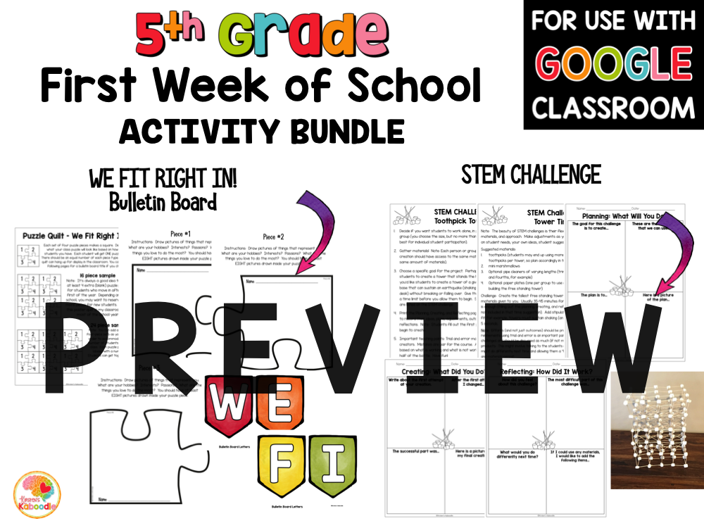 First Week of School Activities for 5th Grade with Digital Option: Back to School Activities PREVIEW