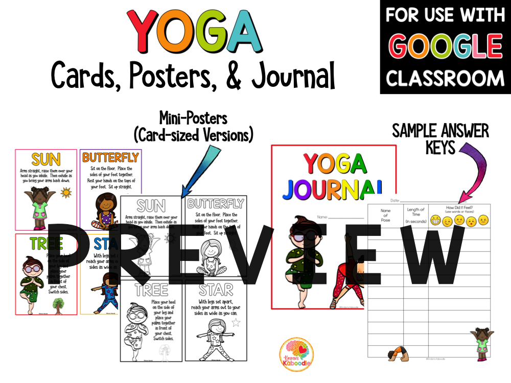 Yoga Cards for Kids Yoga Poses for Kids PREVIEW