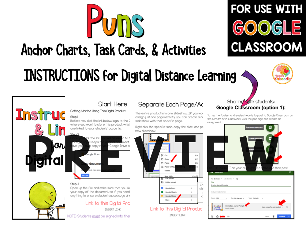 Puns Task Cards and Activities PREVIEW
