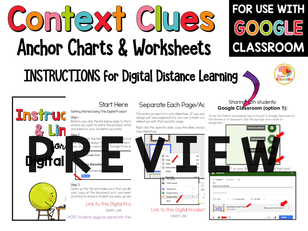 Context Clues Printable Worksheets 3-5 PREVIEW