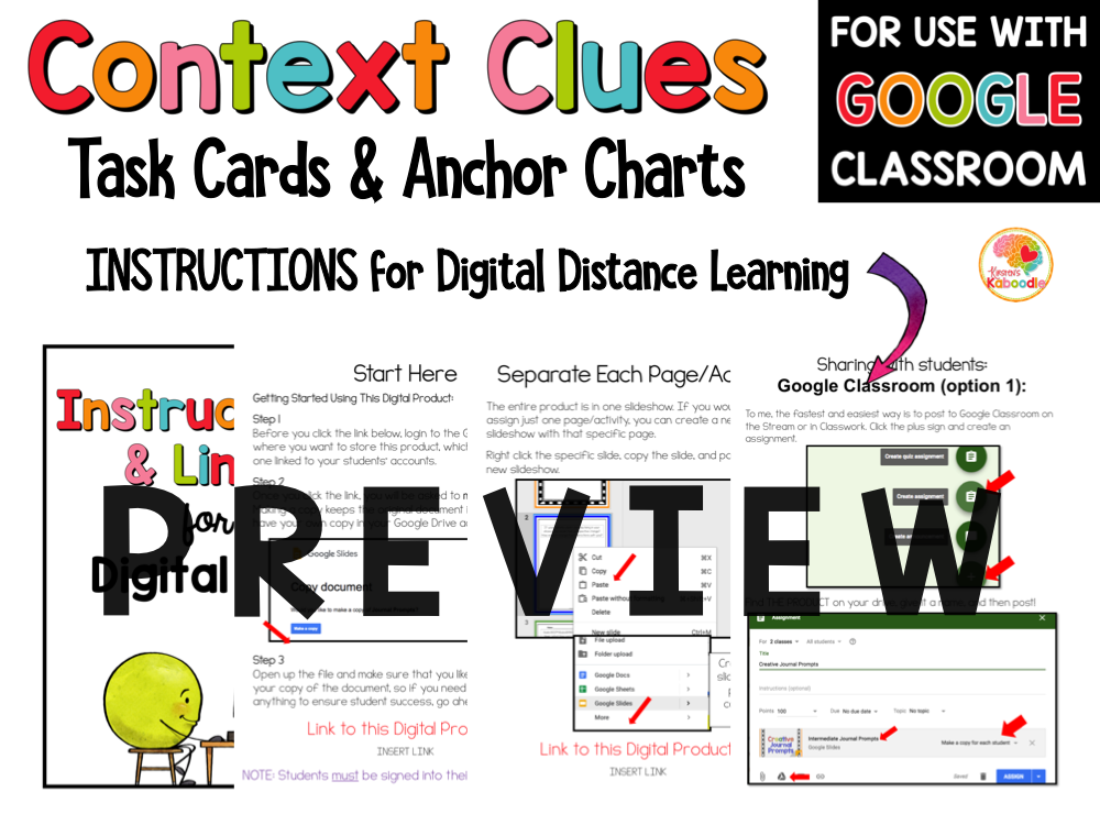 Context Clues Task Cards and Anchor Charts 3 to 5 PREVIEW