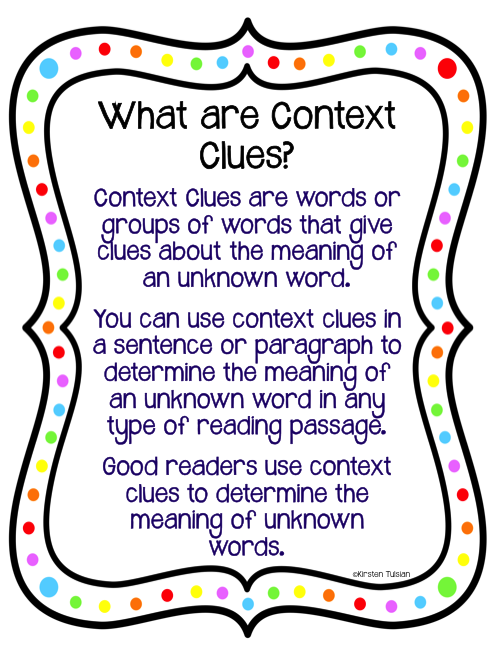 Context Clues Task Cards and Anchor Charts