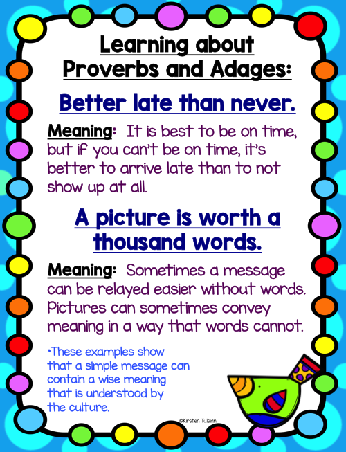 Proverbs and Adages Anchor Charts and Activities