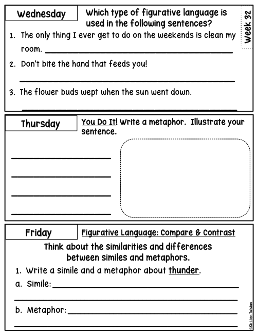 Figurative Language Daily Warm-Ups for One Year