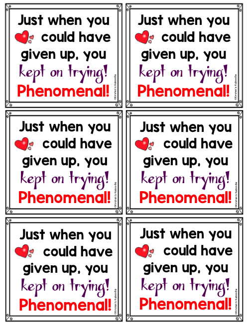 Growth Mindset Notes from the Teacher
