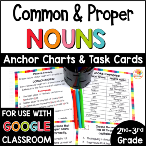 Common Nouns and Proper Nouns Task Cards and Anchor Charts with Google Option COVER