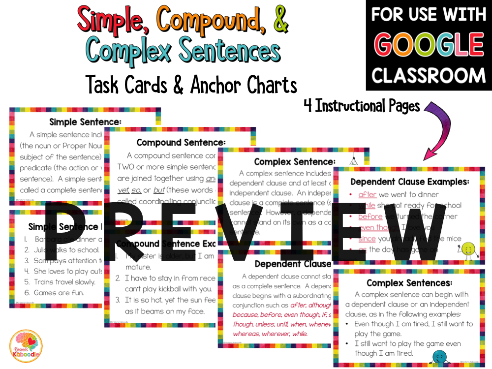 Sentence Structures: Simple Compound and Complex Sentences Task Cards Activities PREVIEW