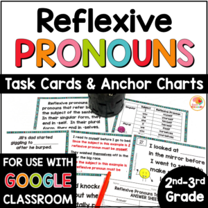 Reflexive Pronouns Task Cards and Activities with Digital Option COVER
