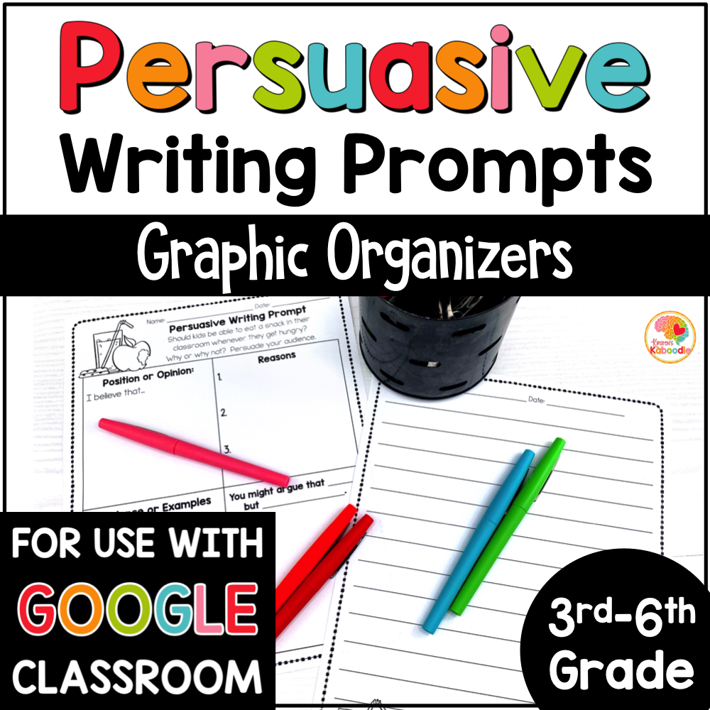 Persuasive Writing Prompts Graphic Organizers with Digital Option in Google Slides COVER