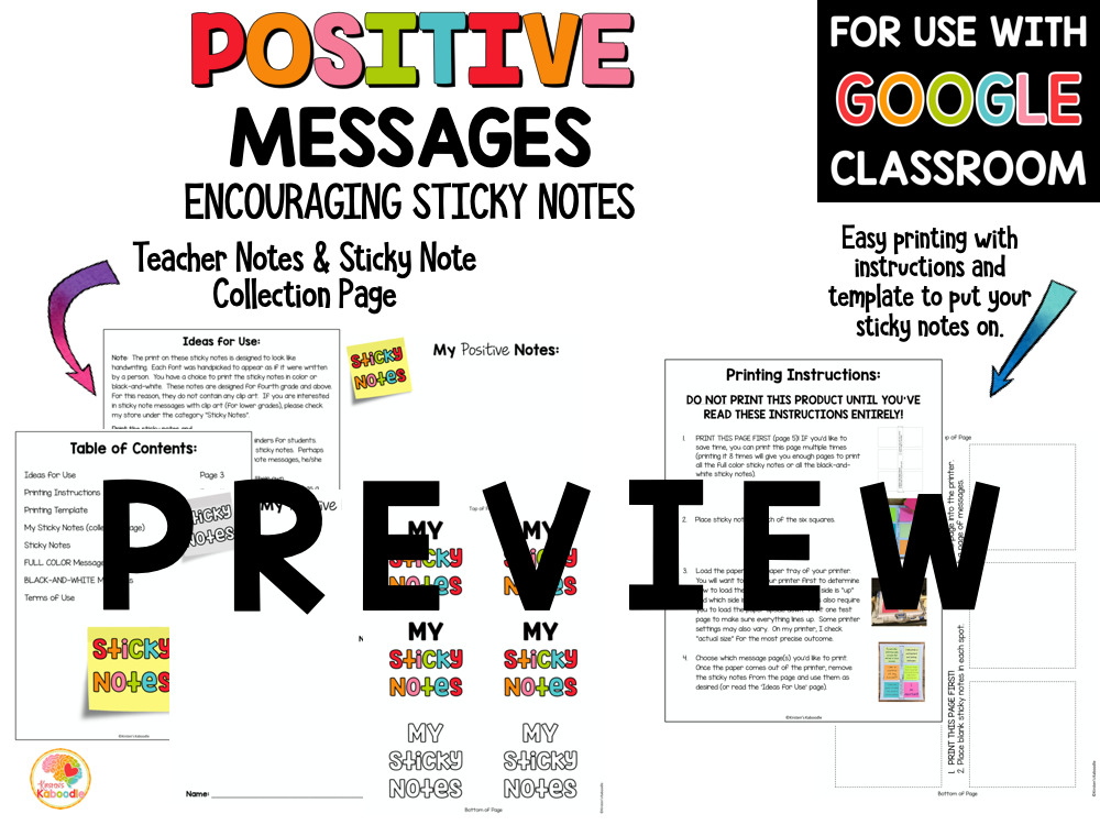 Positive Messages on Sticky Notes for Upper Grades PREVIEW