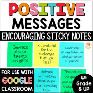 Positive Messages on Sticky Notes for Upper Grades COVER
