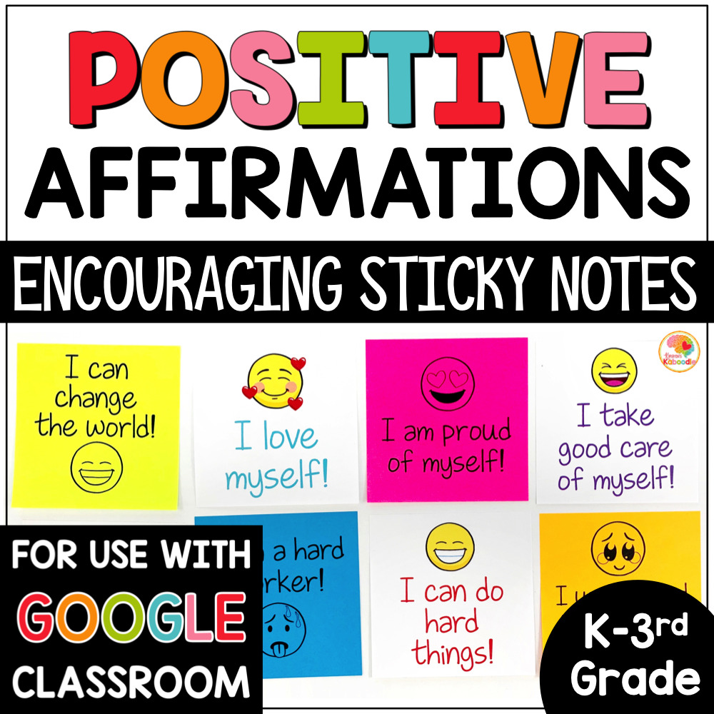 Positive Affirmations on Sticky Notes Lower Grades COVER