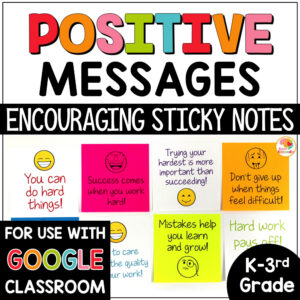 Positive Messages on Sticky Notes for Primary Students COVER