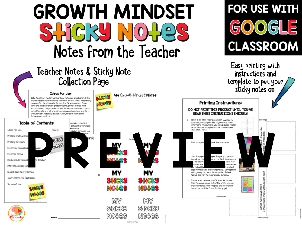 Growth Mindset Notes from the Teacher Sticky Notes PREVIEW