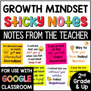 Growth Mindset Notes from the Teacher Sticky Notes COVER