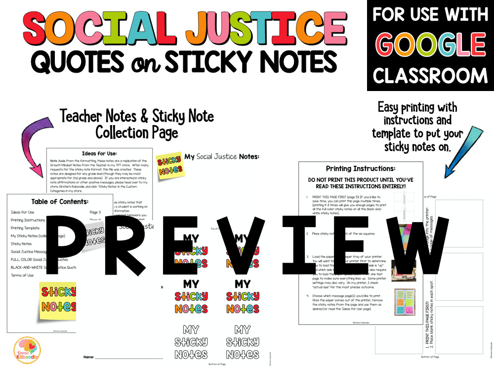 Social Justice Quotes on Sticky Notes with Digital Option PREVIEW