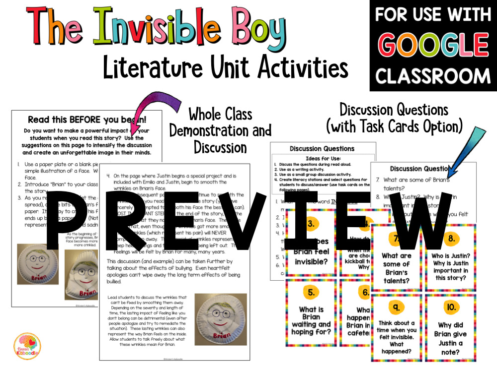 The Invisible Boy Activities PREVIEW