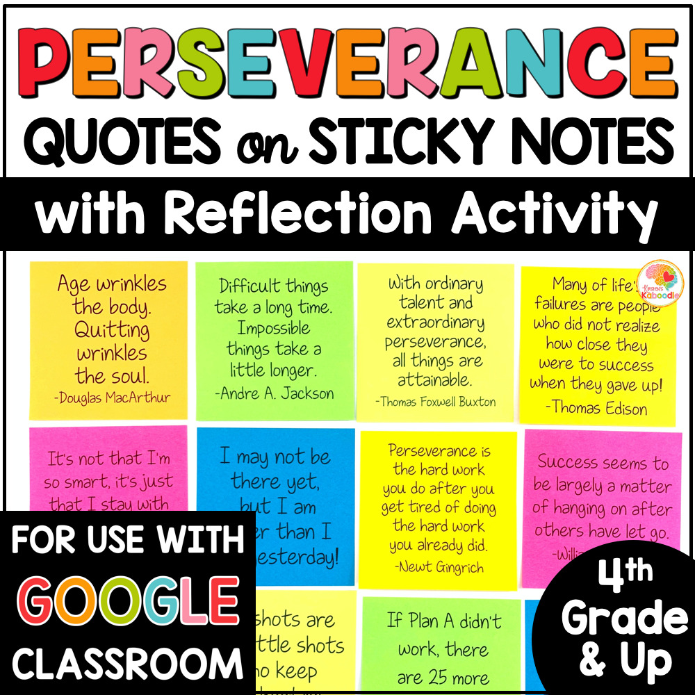 Perseverance Quotes on Sticky Notes with Digital Option COVER
