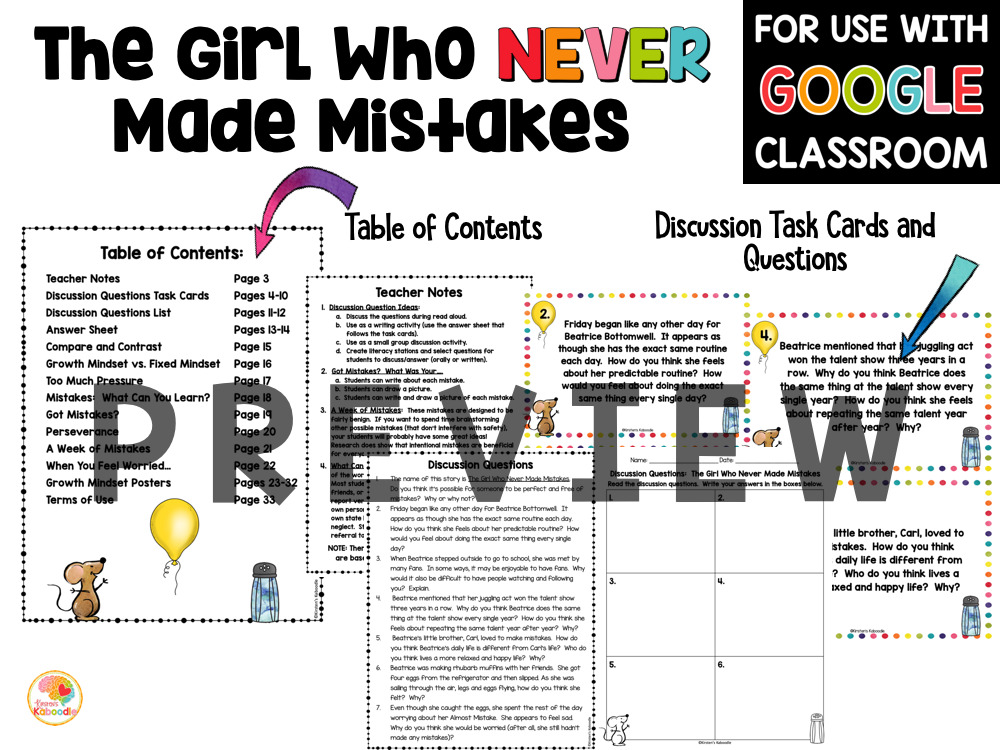 The Girl Who Never Made Mistakes Activities PREVIEW