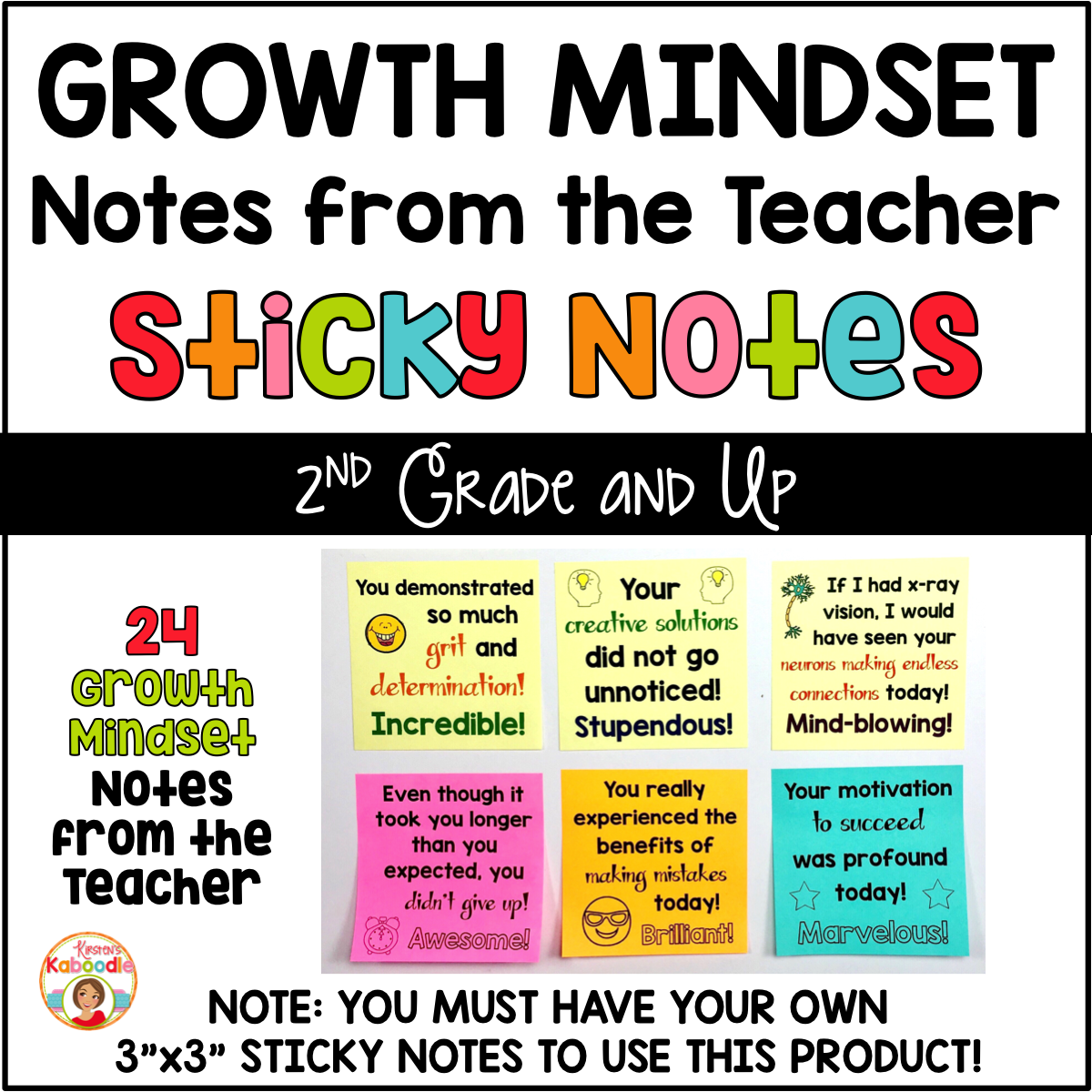Growth Mindset Sticky Notes from the Teacher COVER