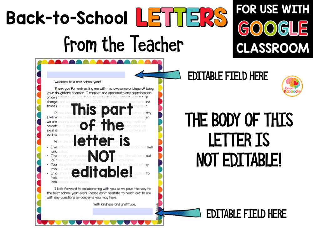 Welcome back to school letters from the teacher PREVIEW