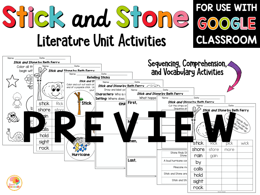 Stick and Stone Activities PREVIEW