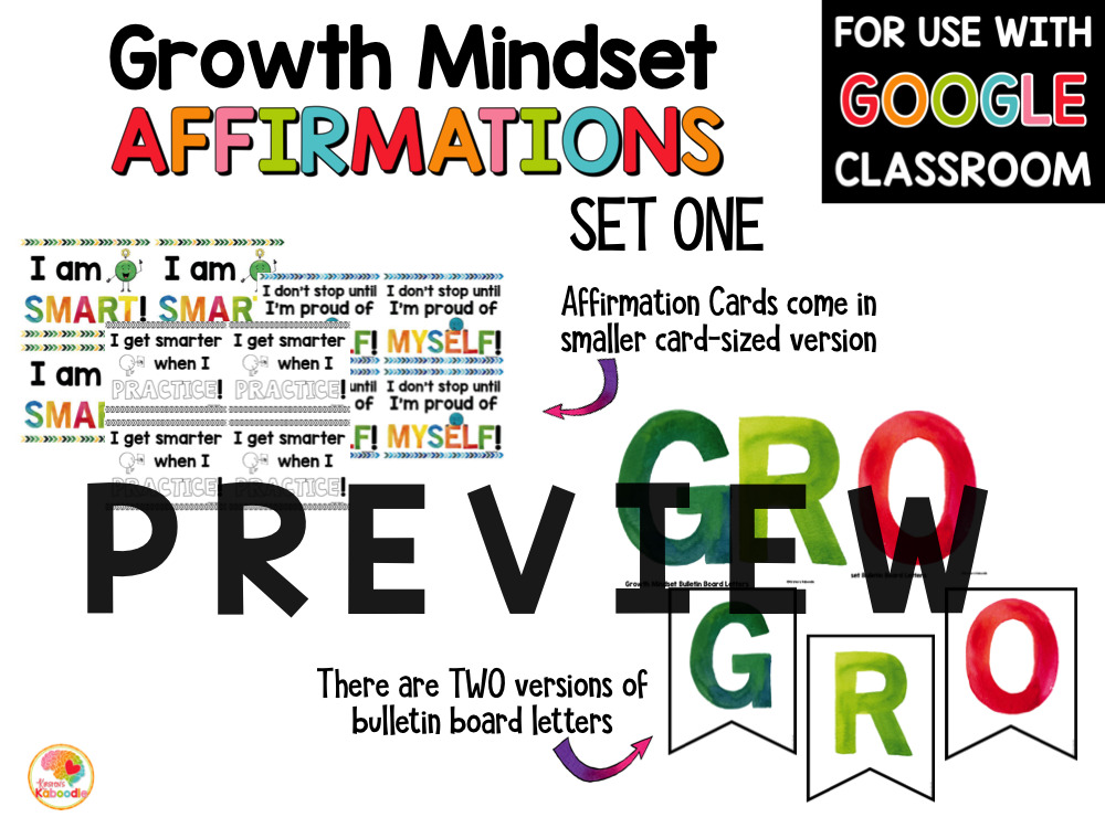 Growth Mindset Affirmations Posters for Primary Grades PREVIEW