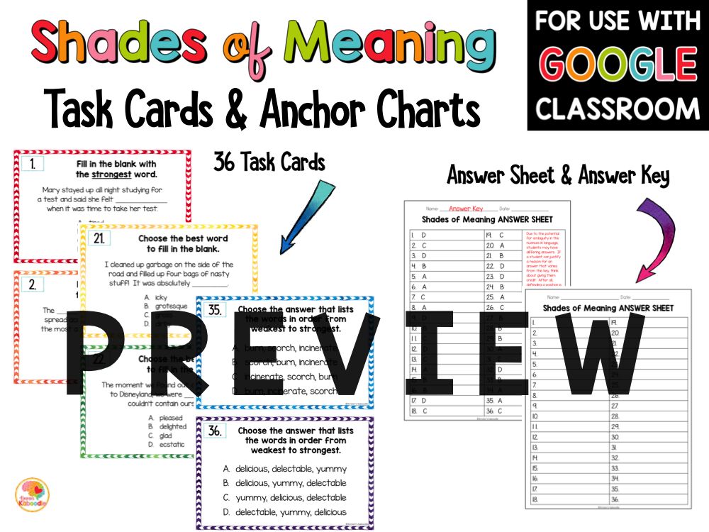 Shades of Meaning Task Cards and Activities PREVIEW
