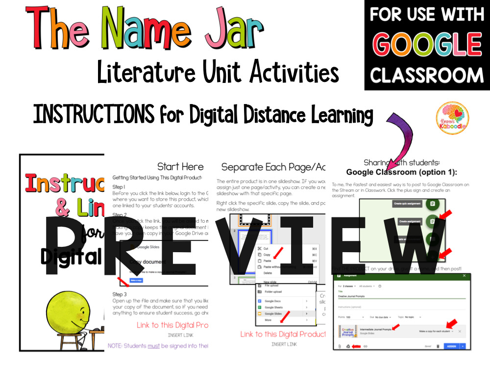 The Name Jar Activities for Kids PREVIEW
