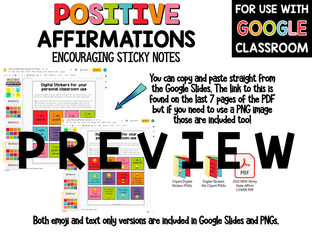 Positive Affirm Sticky Notes Lower Grades PREVIEW