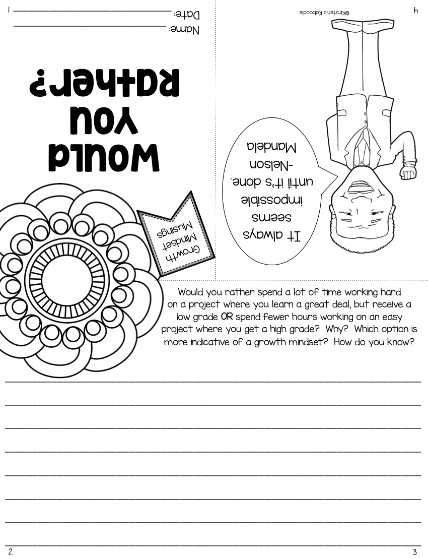 Growth Mindset Booklets: Reflections for Upper Grades