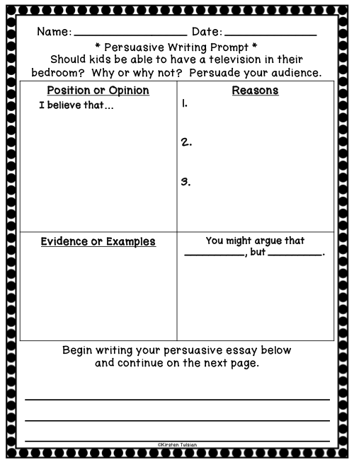 Persuasive Writing Prompts and Graphic Organizers