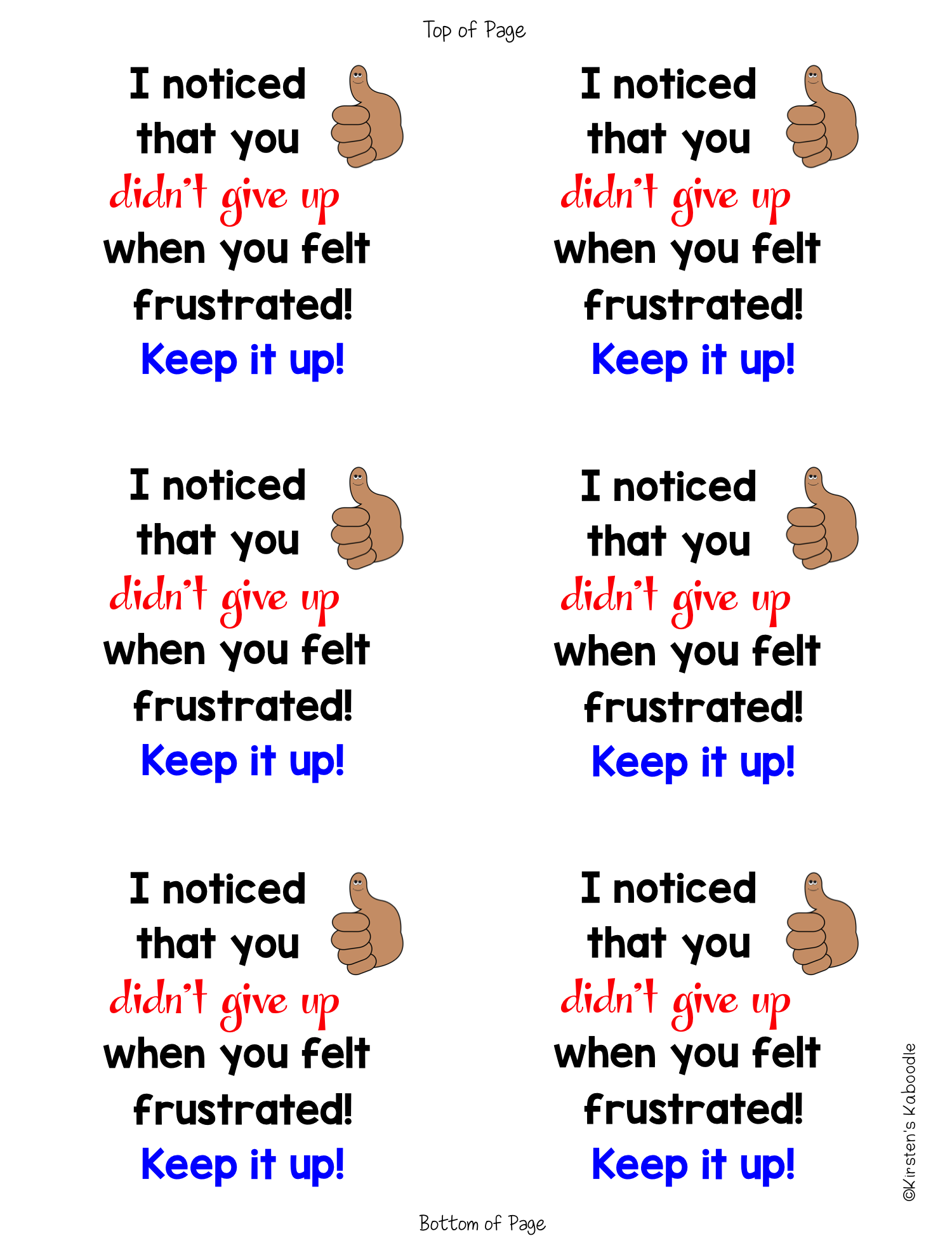 Growth Mindset Sticky Notes from the Teacher