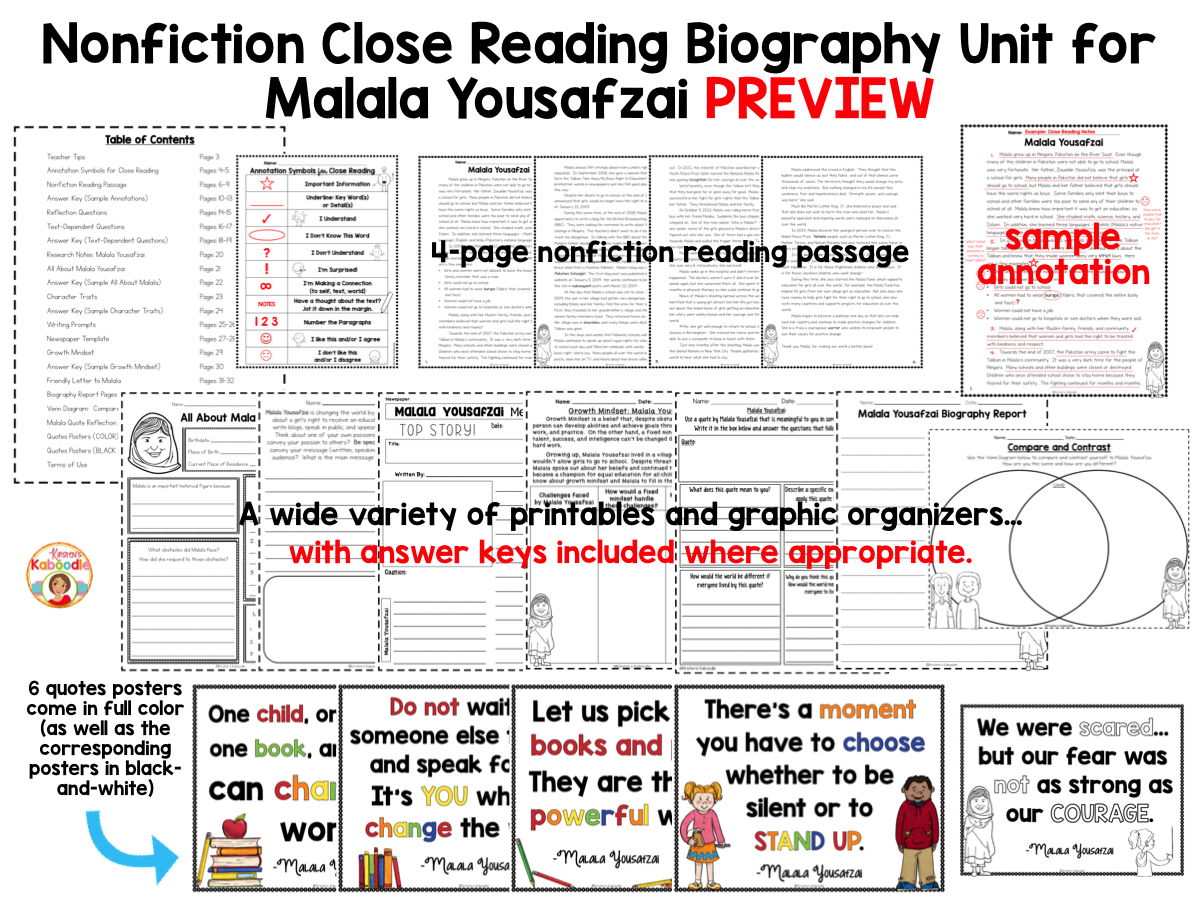 Nonfiction Close Reading Biography Unit for Malala Yousafzai