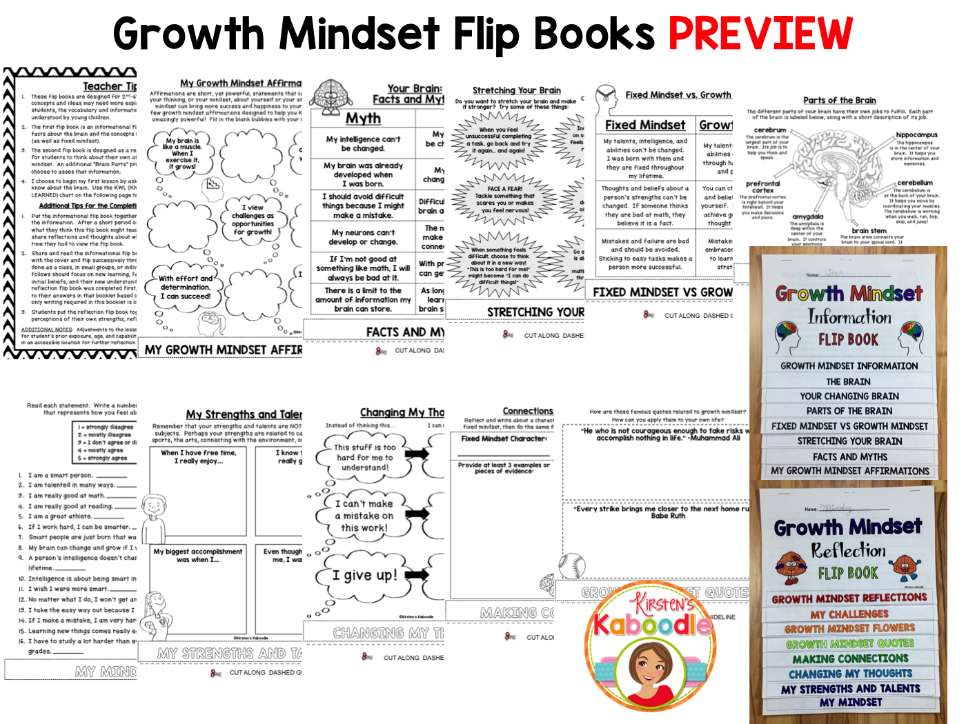 Growth Mindset Flip Books
