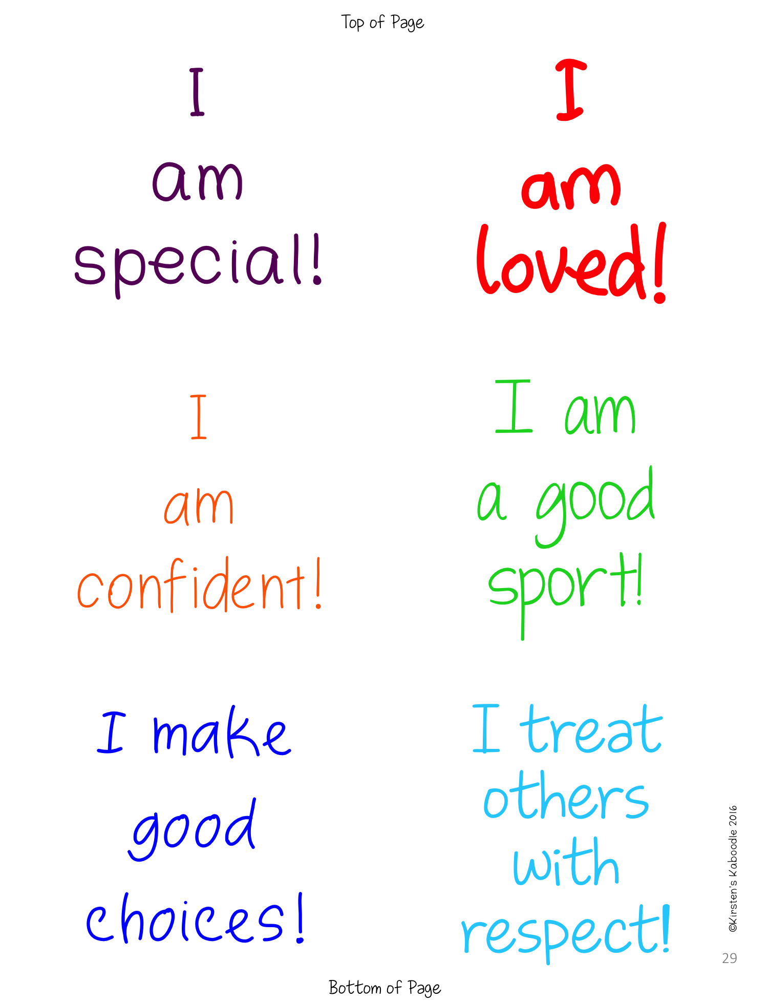 Positive Affirmations on Sticky Notes for Lower Grades