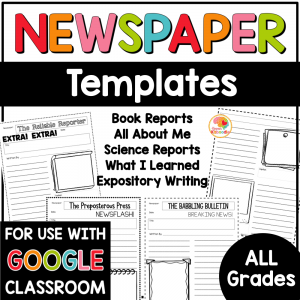 Newspaper Templates Writing Activities