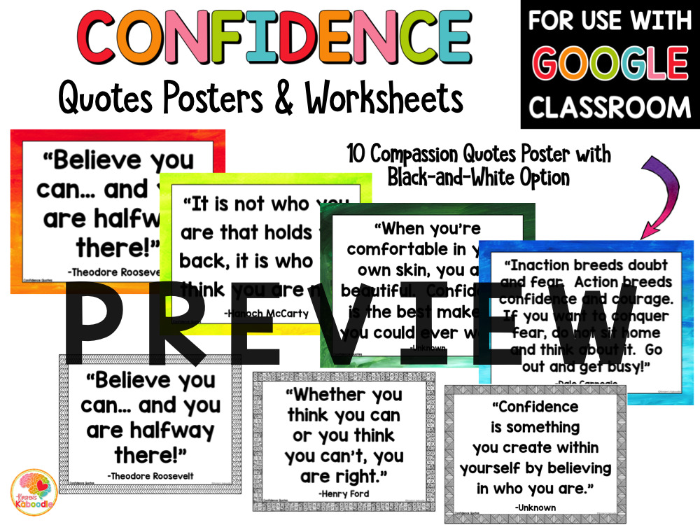 Confidence Quotes Posters and Activities PREVIEW