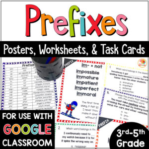 Prefixes Posters, Task Cards, and Activities COVER