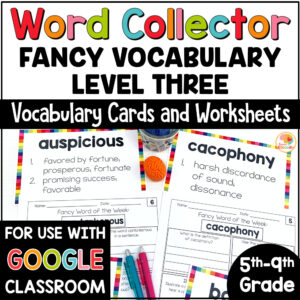 Word Collector Activities Word of the Week Fancy Words COVER