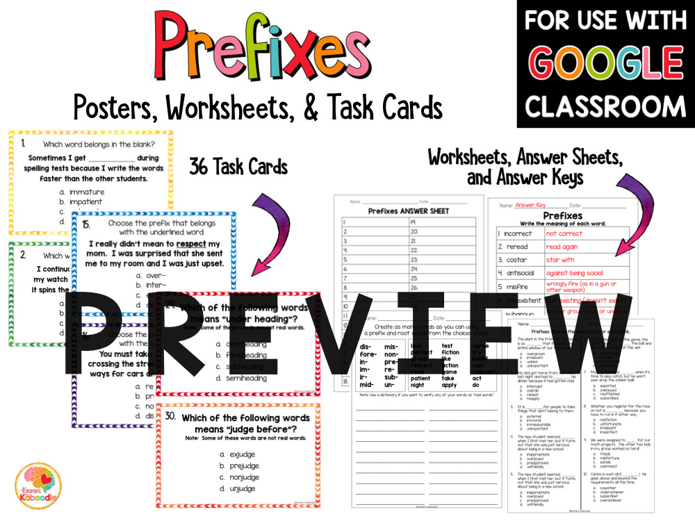Prefixes Posters, Task Cards, and Worksheets PREVIEW