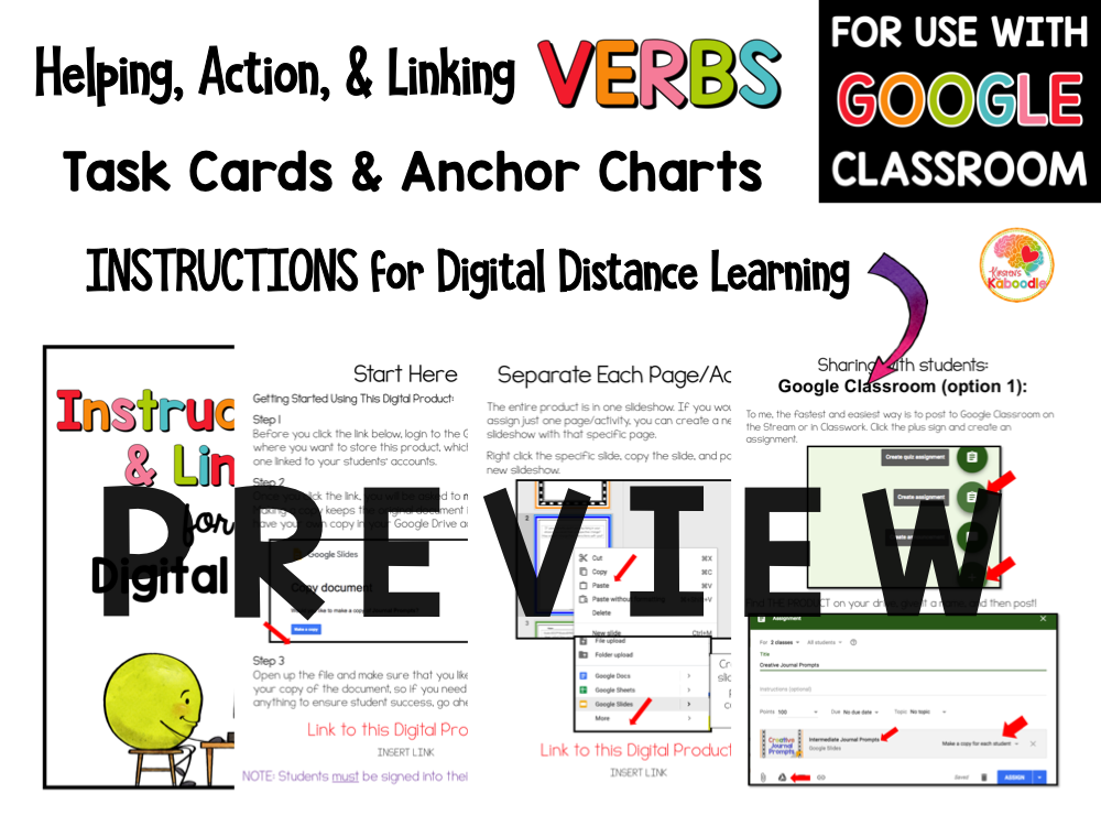 Helping Action and Linking Verbs Task Cards PREVIEW