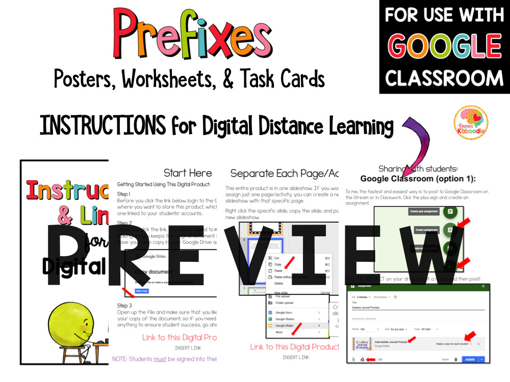 Prefixes Posters, Task Cards, and Activities PREVIEW