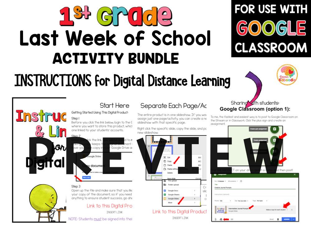 Last Week of School Activities for 1st Grade PREVIEW