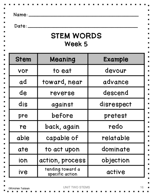 Latin and Greek Stems and Roots NINE WEEKS Lists, Quizzes, and Tests (Part TWO)
